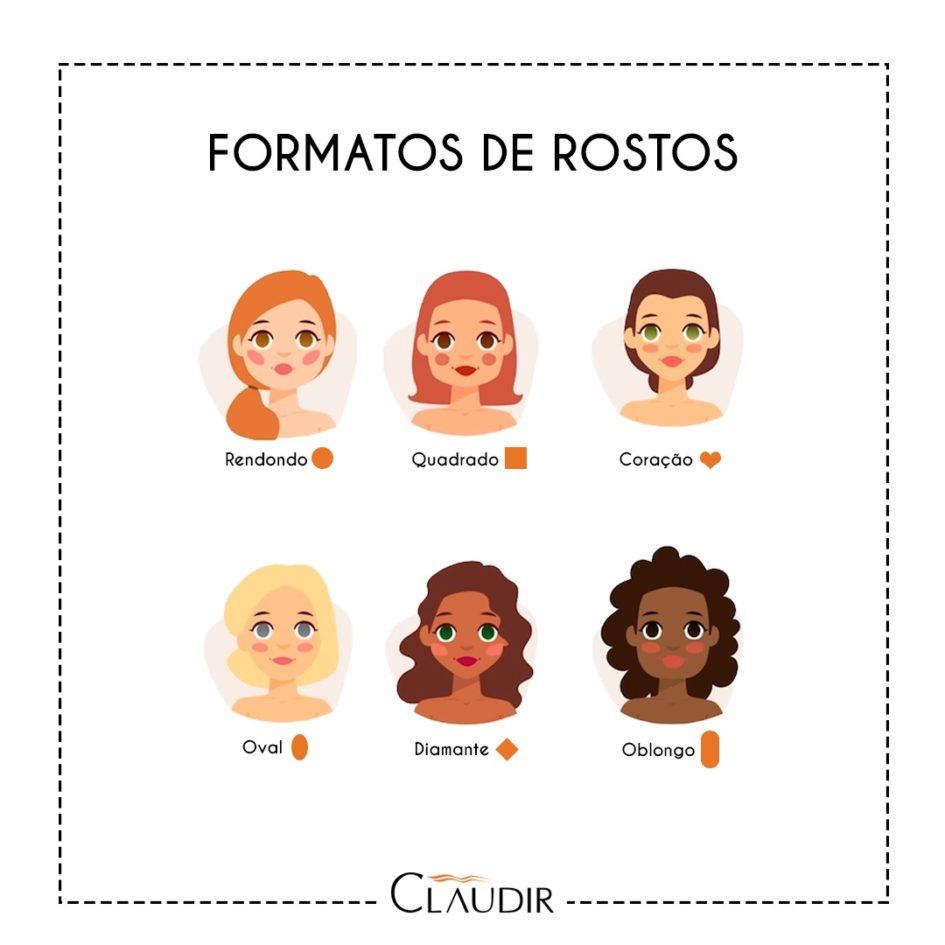 30f3088b34ead Claudir Cabeleireiros - QUER SABER QUAL É O FORMATO DO SEU ROSTO  A ...